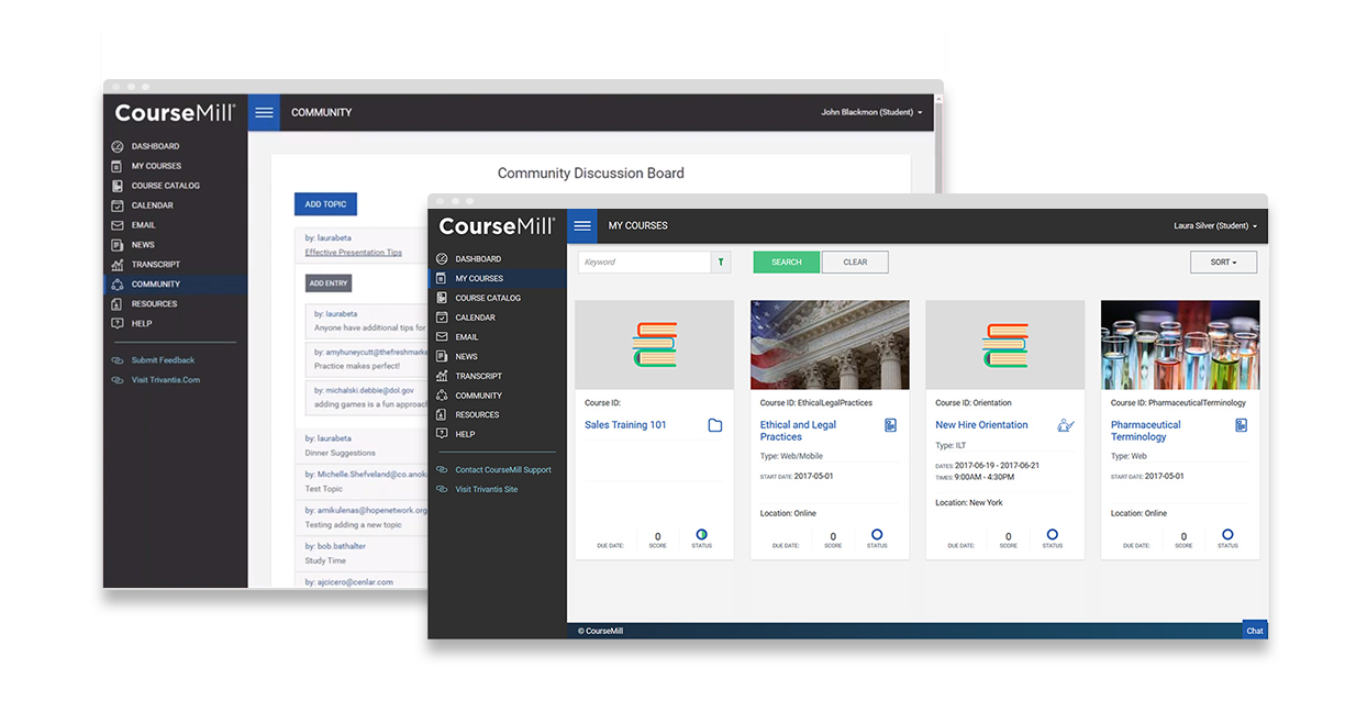 CourseMill user interface, community and courses