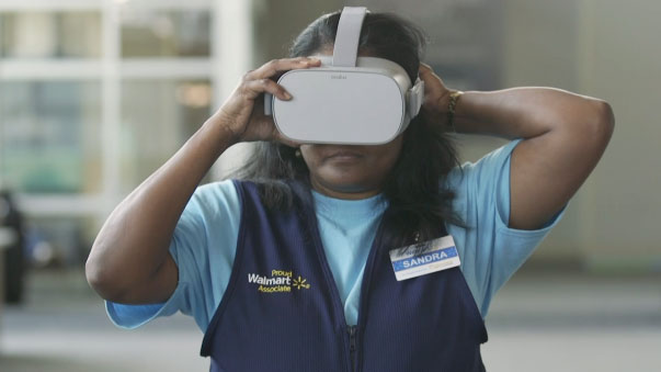 Woman in VR training at Walmart