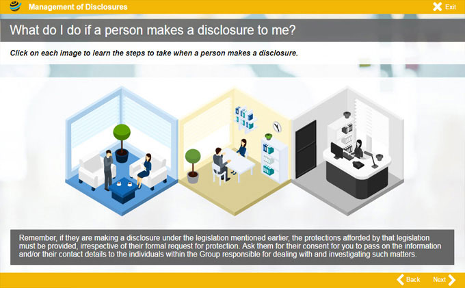 management of disclosures eLearning course snippet