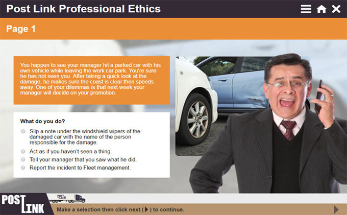 Post Link Professional Ethics course snippet